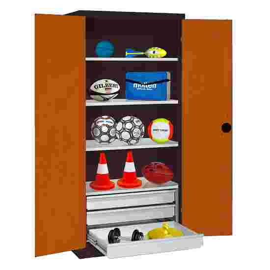 C+P Type 4 Sports Equipment Locker with Drawers and Sheet Metal Double Doors, H×W×D: 195×120×50 cm Sienna red (RDS 050 40 50), Anthracite (RAL 7021)