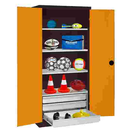 C+P Type 4 Sports Equipment Locker with Drawers and Sheet Metal Double Doors, H×W×D: 195×120×50 cm Yellow orange (RAL 2000), Anthracite (RAL 7021)