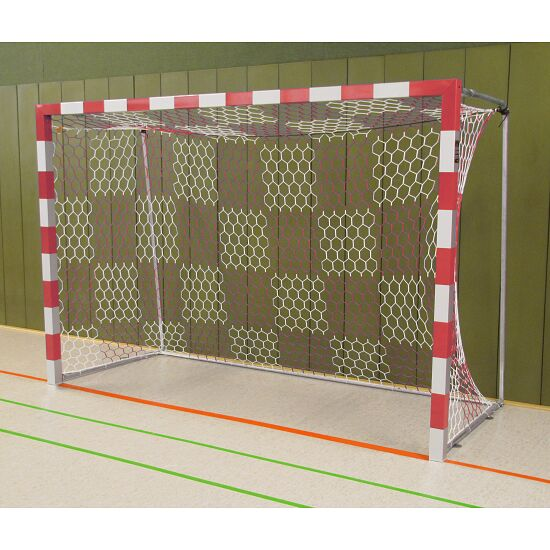 Handball Goal, 3x2 m, Free-standing with Fixed Net Brackets Bolted corner joints, Red/silver