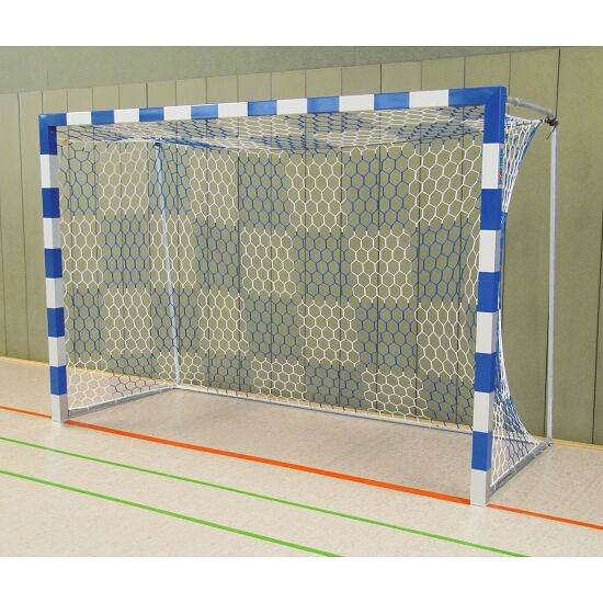 Handball Goal, 3x2 m, Free-standing with Fixed Net Brackets Bolted corner joints, Blue/silver