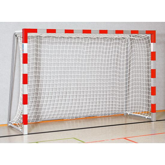 Handball Goal 3x2 m, stands in ground sockets Welded corner joints, Red/silver