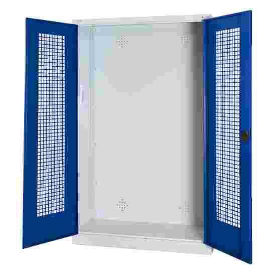 Modular Sports Equipment Cabinet, HxWxD 195x120x50 cm, with Perforated Sheet Double Doors Gentian blue (RAL 5010), Light grey (RAL 7035)