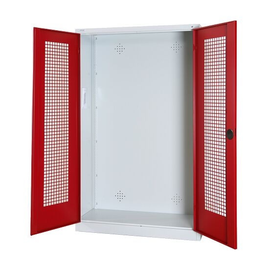 Modular Sports Equipment Cabinet, HxWxD 195x120x50 cm, with Perforated Sheet Double Doors Ruby red (RAL 3003), Light grey (RAL 7035)
