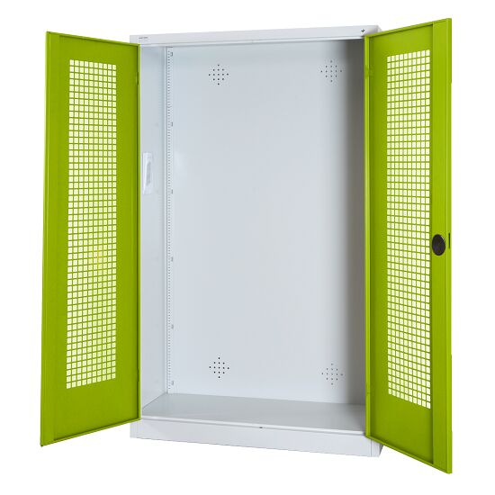 Modular Sports Equipment Cabinet, HxWxD 195x120x50 cm, with Perforated Sheet Double Doors Viridian green (RDS 110 80 60), Light grey (RAL 7035)