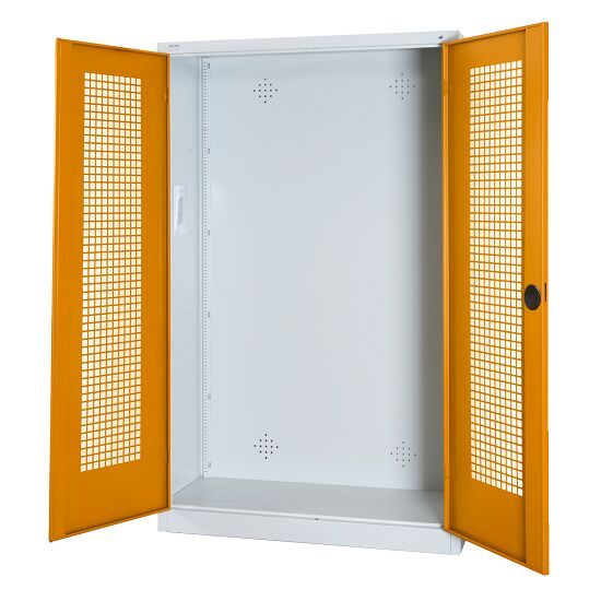 Modular Sports Equipment Cabinet, HxWxD 195x120x50 cm, with Perforated Sheet Double Doors Yellow orange (RAL 2000), Light grey (RAL 7035)