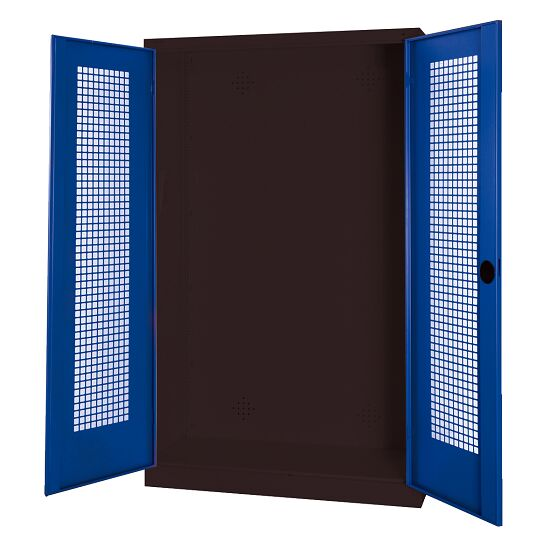 Modular Sports Equipment Cabinet, HxWxD 195x120x50 cm, with Perforated Sheet Double Doors Gentian blue (RAL 5010), Anthracite (RAL 7021)