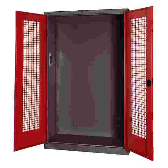 Modular Sports Equipment Cabinet, HxWxD 195x120x50 cm, with Perforated Sheet Double Doors Ruby red (RAL 3003), Anthracite (RAL 7021)