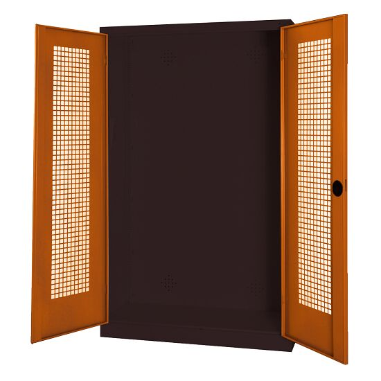 Modular Sports Equipment Cabinet, HxWxD 195x120x50 cm, with Perforated Sheet Double Doors Sienna red (RDS 050 40 50), Anthracite (RAL 7021)