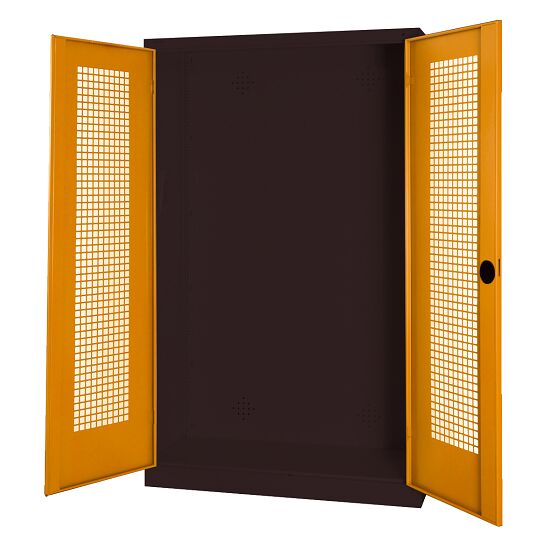 Modular Sports Equipment Cabinet, HxWxD 195x120x50 cm, with Perforated Sheet Double Doors Yellow orange (RAL 2000), Anthracite (RAL 7021)