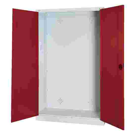 Modular Sports Equipment Cabinet, HxWxD 195x120x50 cm, with Sheet Metal Double Doors Ruby red (RAL 3003), Light grey (RAL 7035)