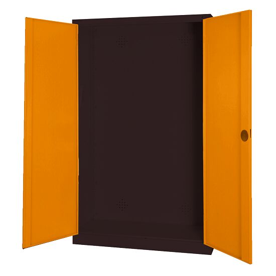 Modular Sports Equipment Cabinet, HxWxD 195x120x50 cm, with Sheet Metal Double Doors Yellow orange (RAL 2000), Anthracite (RAL 7021)