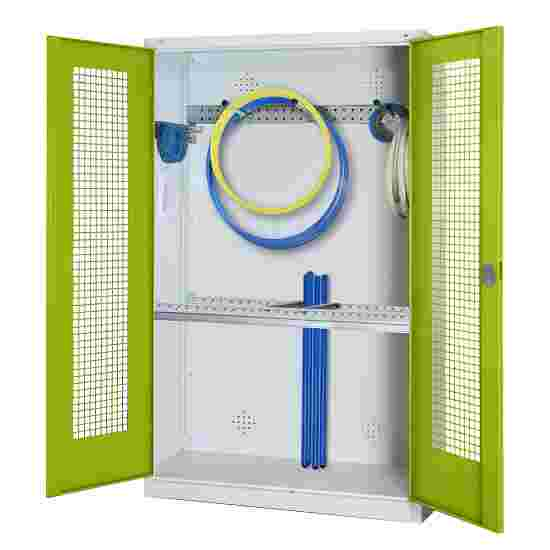 Modular Sports Equipment Cabinet with Basic Fittings, HxWxD 195x120x50 cm, with Perforated Sheet Double Doors Viridian green (RDS 110 80 60), Light grey (RAL 7035)