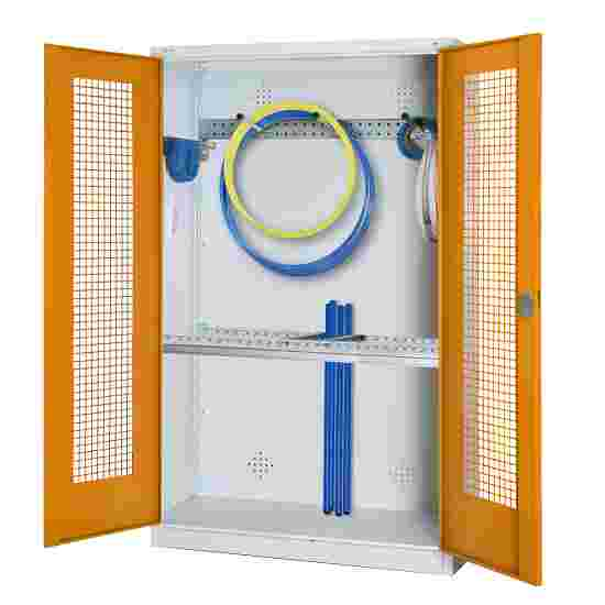 Modular Sports Equipment Cabinet with Basic Fittings, HxWxD 195x120x50 cm, with Perforated Sheet Double Doors Yellow orange (RAL 2000), Light grey (RAL 7035)