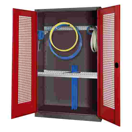 Modular Sports Equipment Cabinet with Basic Fittings, HxWxD 195x120x50 cm, with Perforated Sheet Double Doors Ruby red (RAL 3003), Anthracite (RAL 7021)