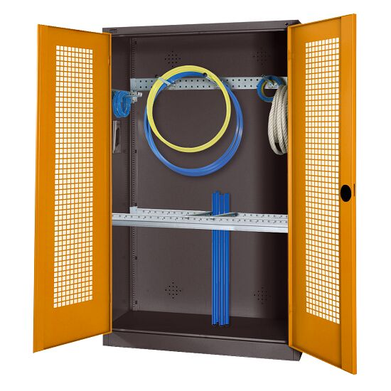 Modular Sports Equipment Cabinet with Basic Fittings, HxWxD 195x120x50 cm, with Perforated Sheet Double Doors Yellow orange (RAL 2000), Anthracite (RAL 7021)