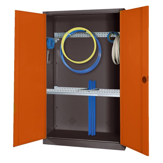 Modular Sports Equipment Cabinet with Basic Fittings, HxWxD 195x120x50 cm, with Sheet Metal Double Doors Sienna red (RDS 050 40 50), Anthracite (RAL 7021)