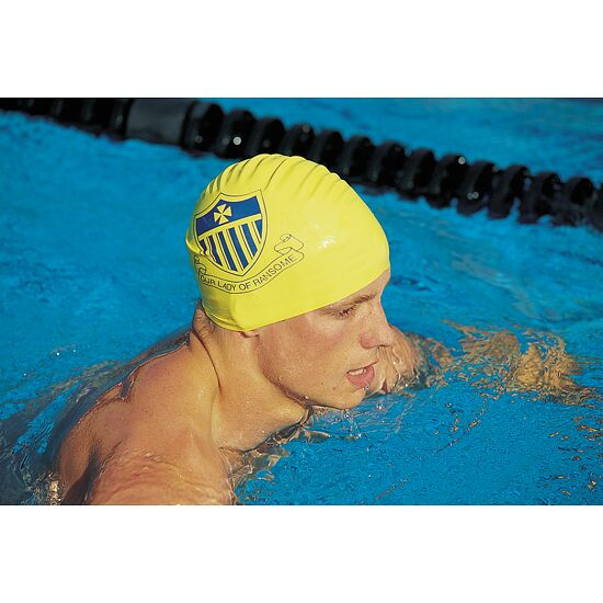 Printed Silicone Swimming Cap  Black, Double-sided