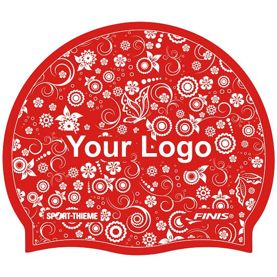 Printed Silicone Swimming Cap  Red, Double-sided