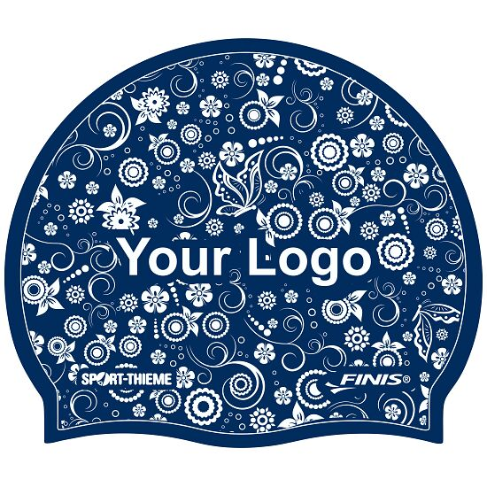 Printed Silicone Swimming Cap  Navy, Double-sided