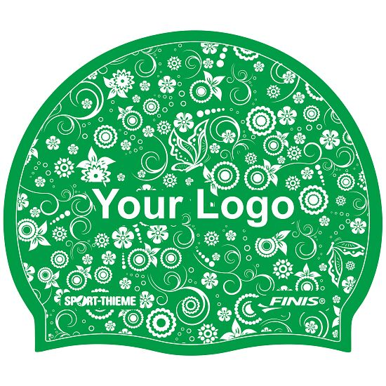 Printed Silicone Swimming Cap  Green, Double-sided