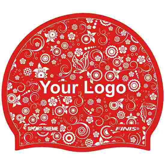 Printed Silicone Swimming Cap Red, One-sided