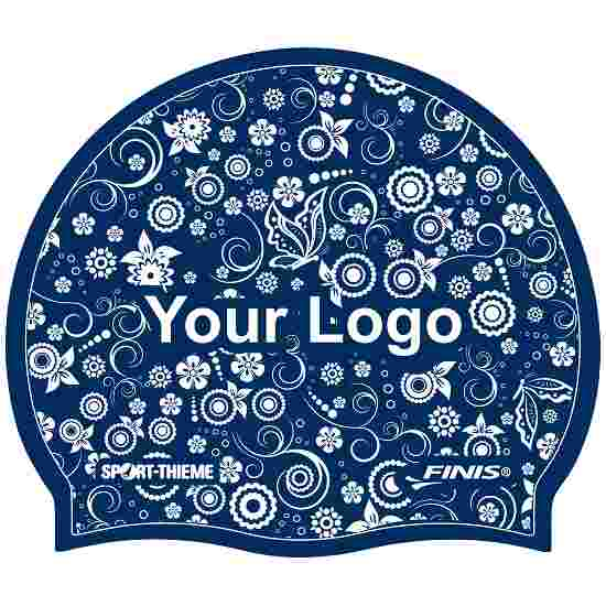 Printed Silicone Swimming Cap Navy, One-sided
