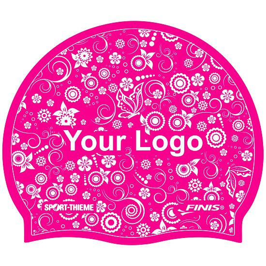 Printed Silicone Swimming Cap Pink, Double-sided