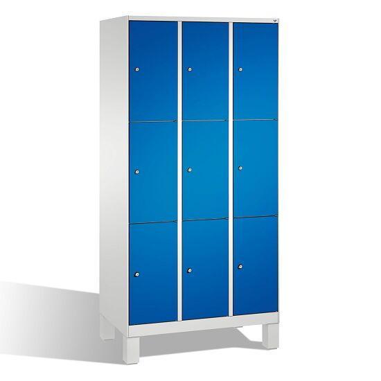 """""""S 3000 Evolo"""" Lockers with Base Legs (3 Lockers Positioned Vertically) 185x90x50 cm/ 9 compartments, Gentian blue (RAL 5010)"""