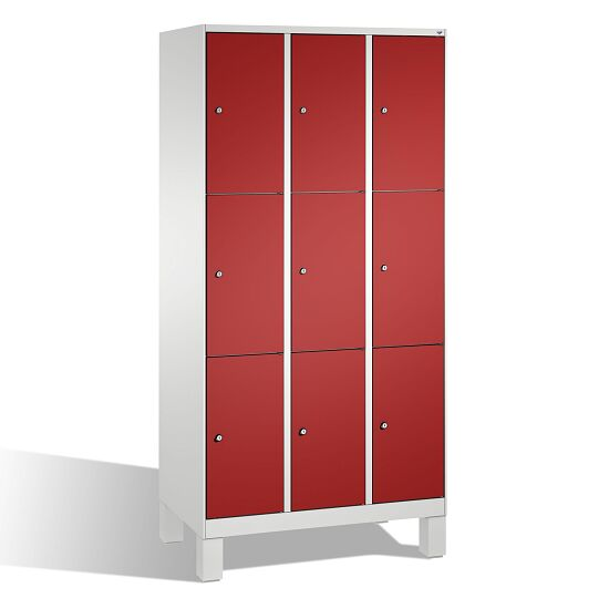 """""""S 3000 Evolo"""" Lockers with Base Legs (3 Lockers Positioned Vertically) 185x90x50 cm/ 9 compartments, Fiery Red (RAL 3000)"""