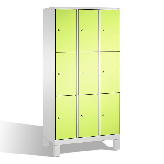 """""""S 3000 Evolo"""" Lockers with Base Legs (3 Lockers Positioned Vertically) 185x90x50 cm/ 9 compartments, Viridian green (RDS 110 80 60)"""