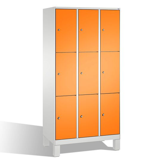 """""""S 3000 Evolo"""" Lockers with Base Legs (3 Lockers Positioned Vertically) 185x90x50 cm/ 9 compartments, Yellow orange (RAL 2000)"""