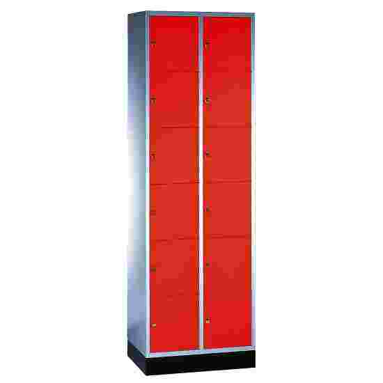 """S 4000 Intro"" Compartment Locker (6 compartments on top of one another) 195x62x49cm/ 12 compartments, Fiery Red (RAL 3000)"