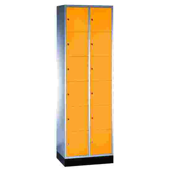 """S 4000 Intro"" Compartment Locker (6 compartments on top of one another) 195x62x49cm/ 12 compartments, Yellow orange (RAL 2000)"