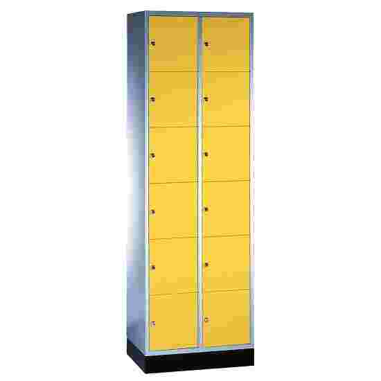 """S 4000 Intro"" Compartment Locker (6 compartments on top of one another) 195x62x49cm/ 12 compartments, Sunny Yellow (RDS 080 80 60)"