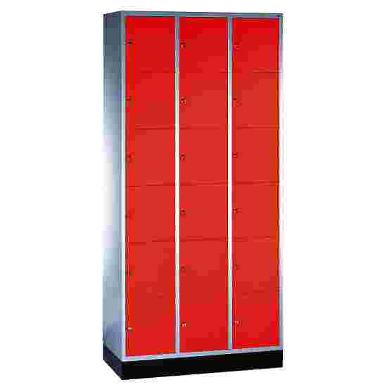 """S 4000 Intro"" Compartment Locker (6 compartments on top of one another) 195x92x49cm/ 18 compartments, Fiery Red (RAL 3000)"