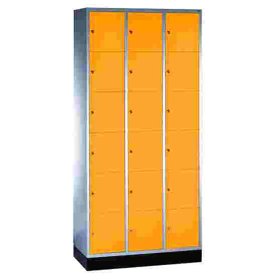 """S 4000 Intro"" Compartment Locker (6 compartments on top of one another) 195x92x49cm/ 18 compartments, Yellow orange (RAL 2000)"