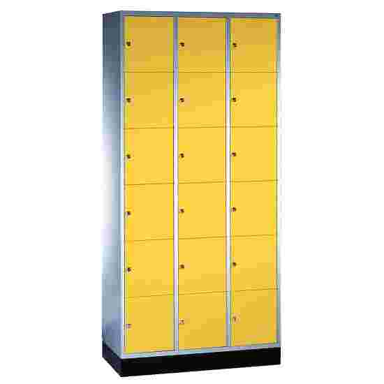 """S 4000 Intro"" Compartment Locker (6 compartments on top of one another) 195x92x49cm/ 18 compartments, Sunny Yellow (RDS 080 80 60)"