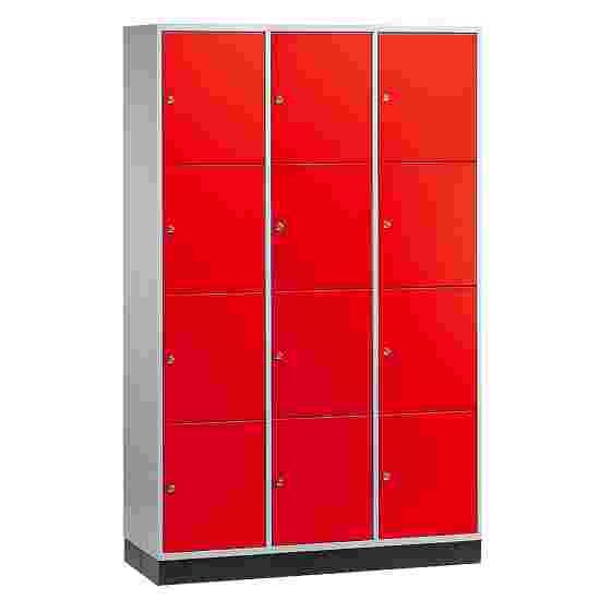 """""""S 4000 Intro"""" Large Capacity Compartment Locker (4-Door Locker) 195x122x49 cm/ 12 compartments, Fiery Red (RAL 3000)"""