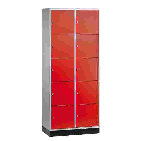 """""""S 4000 Intro"""" Large Capacity Compartment Locker (5 compartments on top of one another) 195x85x49 cm/ 10 compartments, Fiery Red (RAL 3000)"""