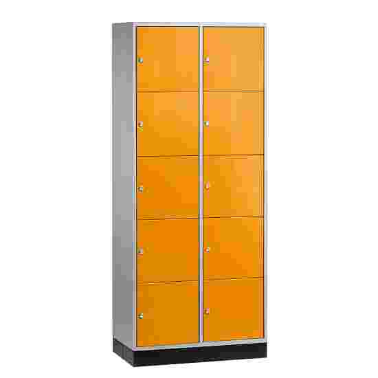 """""""S 4000 Intro"""" Large Capacity Compartment Locker (5 compartments on top of one another) 195x85x49 cm/ 10 compartments, Yellow orange (RAL 2000)"""