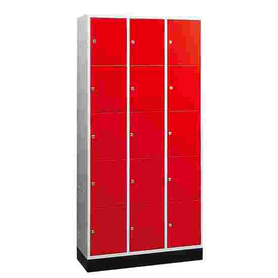 """""""S 4000 Intro"""" Large Capacity Compartment Locker (5 compartments on top of one another) 195x122x49 cm/ 15 compartments, Fiery Red (RAL 3000)"""