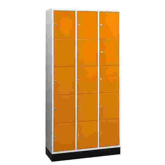 """""""S 4000 Intro"""" Large Capacity Compartment Locker (5 compartments on top of one another) 195x122x49 cm/ 15 compartments, Yellow orange (RAL 2000)"""