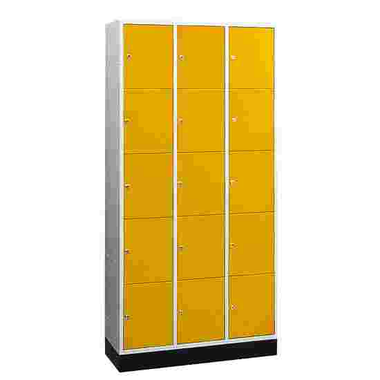 """""""S 4000 Intro"""" Large Capacity Compartment Locker (5 compartments on top of one another) 195x122x49 cm/ 15 compartments, Sunny Yellow (RDS 080 80 60)"""