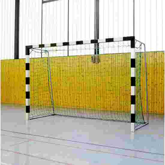Sport-Thieme 3x2m, stands in ground sockets, with folding net brackets Indoor Handball Goal Bolted corner joints, Black/silver