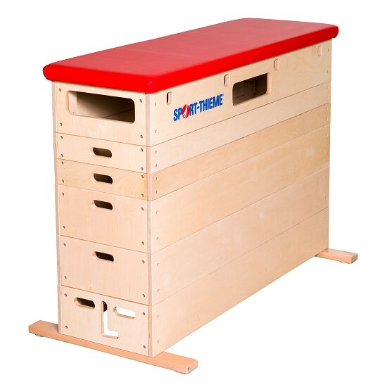 Sport-Thieme 6-Part Plywood Vaulting Box Without swivel castor kit, Synthetic leather cover, red