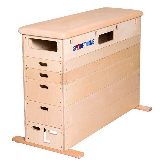 Sport-Thieme 6-Part Plywood Vaulting Box Without swivel castor kit, Leather cover