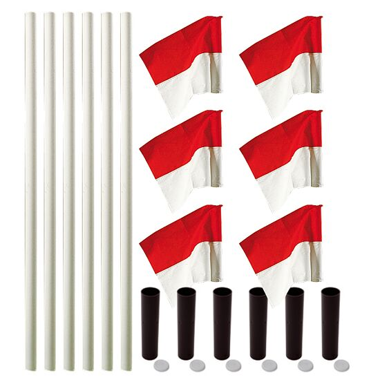 "Sport-Thieme® ""All-Round"" Boundary Pole Set White poles, red/white flags"
