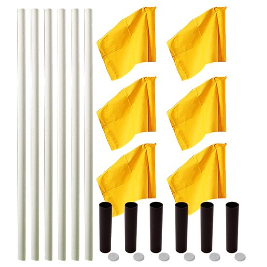"Sport-Thieme® ""All-Round"" Boundary Pole Set White poles, neon yellow flags"
