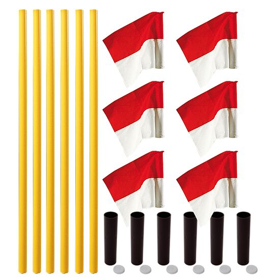 "Sport-Thieme® ""All-Round"" Boundary Pole Set Yellow poles, red/white flags"