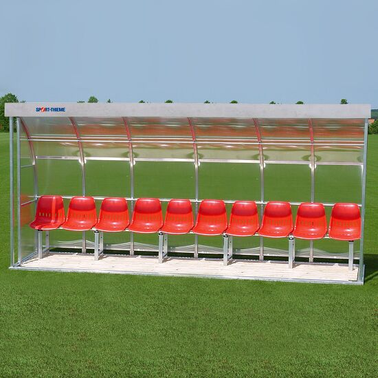 Sport-Thieme® Dugout for 10 People Seat, Acrylic glass